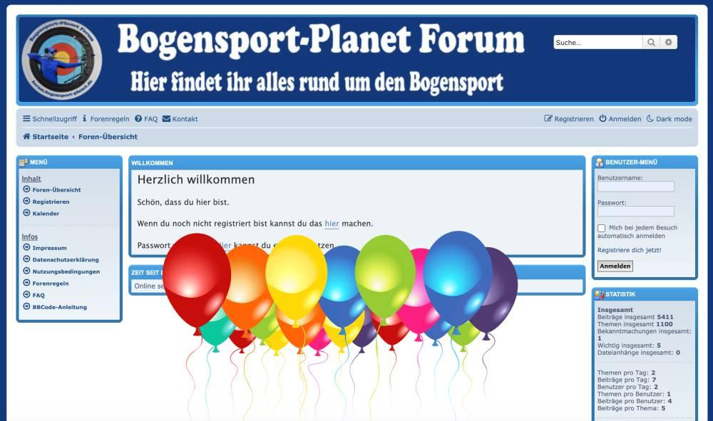 Bogensport-Planet Forum wird heute 2 Jahre