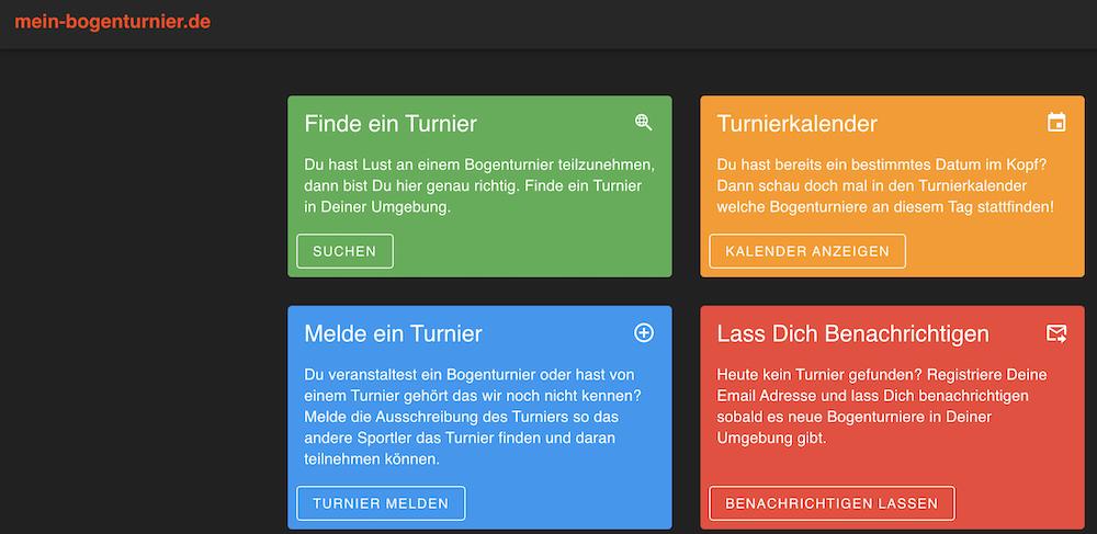 Internetseite mit Turnieren